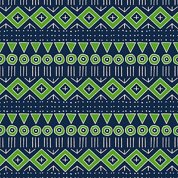 Mudcloth Style 2 in Navy Blue and Lime Green by MelFischer
