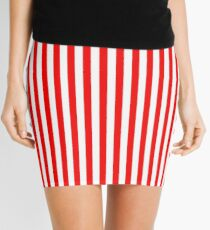 Original Berry Red and White Rustic Vertical Tent Stripes Mini Skirt