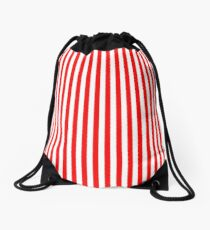 Original Berry Red and White Rustic Vertical Tent Stripes Drawstring Bag