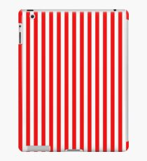 Original Berry Red and White Rustic Vertical Tent Stripes iPad Case/Skin