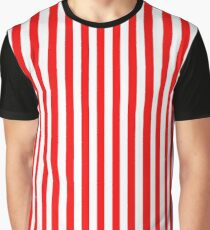 Original Berry Red and White Rustic Vertical Tent Stripes Graphic T-Shirt