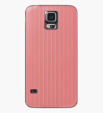 Thin Berry Red and White Rustic Vertical Sailor Stripes Case/Skin for Samsung Galaxy