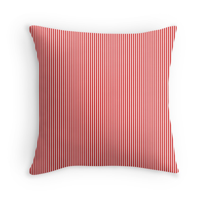 Thin Berry Red and White Rustic Vertical Sailor Stripes
