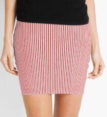 Thin Berry Red and White Rustic Vertical Sailor Stripes Mini Skirt