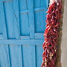 Red Chilies, Blue Door by Bob  Perkoski