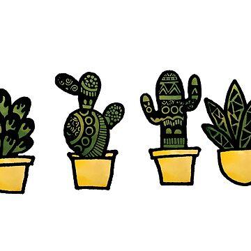 Zentangle Succulent Cactus Watercolor by alexavec