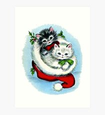 Kittens In A Christmas Stocking Art Print