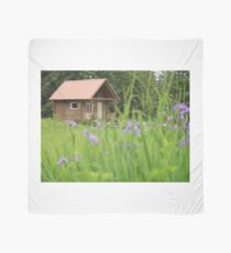 Alaskan Cabin with Irises  Scarf