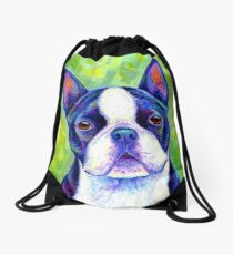 Colorful Boston Terrier Dog Drawstring Bag
