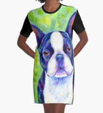 Colorful Boston Terrier Dog Graphic T-Shirt Dress