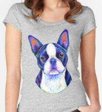 Colorful Boston Terrier Dog Women's Fitted Scoop T-Shirt