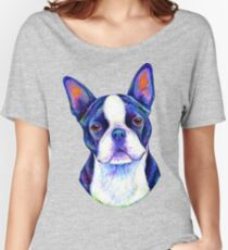 Colorful Boston Terrier Dog Women's Relaxed Fit T-Shirt