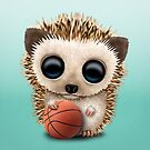 Baby Hedgehog Playing With Basketball by jeff bartels