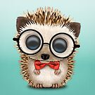 Cute Nerdy Hedgehog Wearing Glasses and Bow Tie by jeff bartels