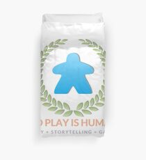 To Play Is Human (full logo, title, tagline) Duvet Cover