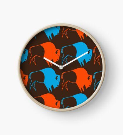 Orange Blue Buffalo Nation Clock