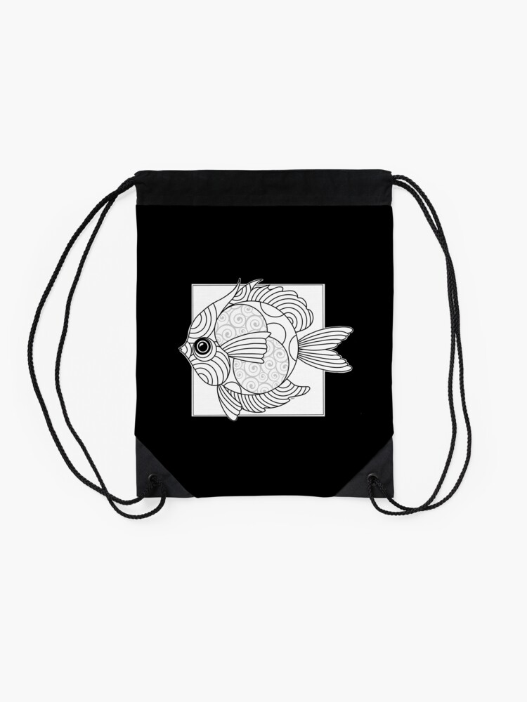 Alternate view of Just Add Colour - Fanciful Fish Drawstring Bag