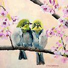 Baby Japanese White Eye Birds by Julie Ann Accornero