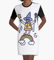 Wizard Pizza Graphic T-Shirt Dress