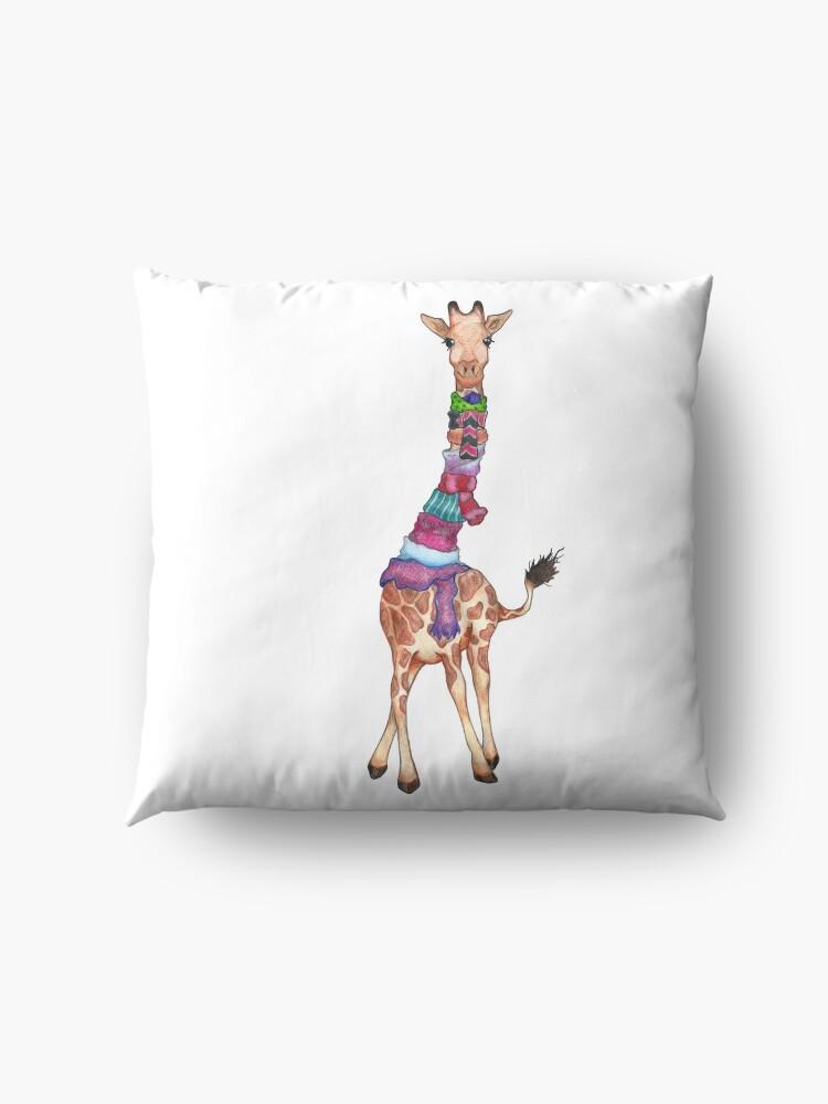Alternate view of Cold Outside - Cute Giraffe Illustration Floor Pillow