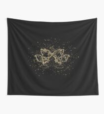 Anthropomorphized animals cartoon couple golden ornament Gold Wall Tapestry