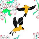 Goldfinch and Dogwood pattern by fionaostby