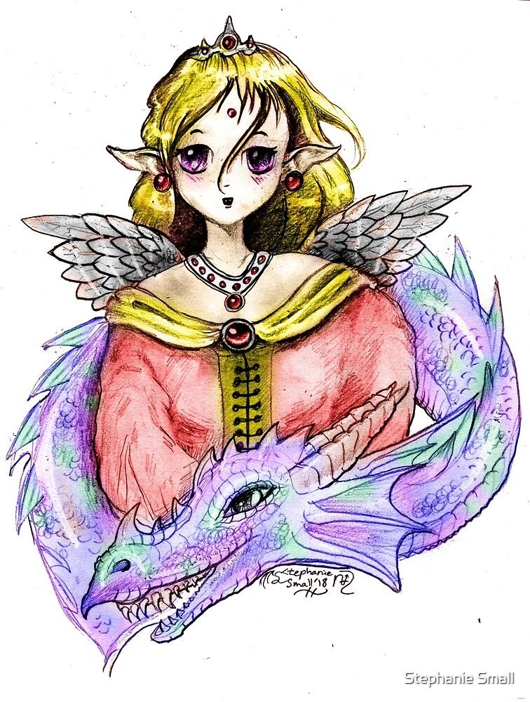 Angel woman girl female dragon monster reptile beast cute funny anime manga by Stephanie Small