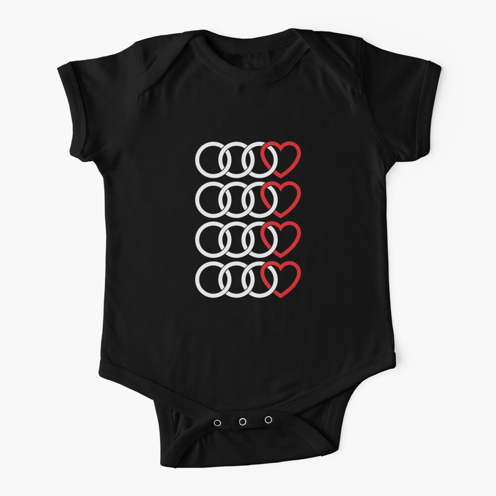 Audi Rings and Heart (White) Baby One-Piece
