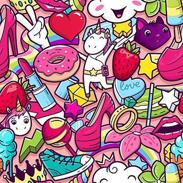 Girl Power Happy Pins Pop Art Clipart Pattern by LuckyU-Design