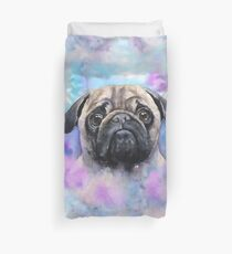 Pug watercolor art from George Dyachenko  Duvet Cover