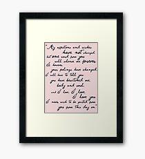 Pride and Prejudice, Darcy (black) Quote  Framed Print