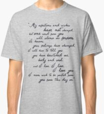 Pride and Prejudice, Darcy (black) Quote  Classic T-Shirt