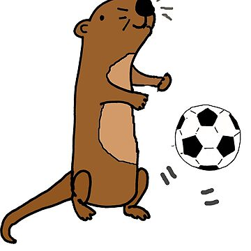 Funny Sea Otter Playing Soccer Cartoon by naturesfancy