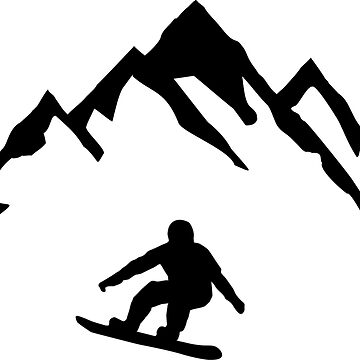 Snowboard and Mountain, Snowboarding by claudiasartwork