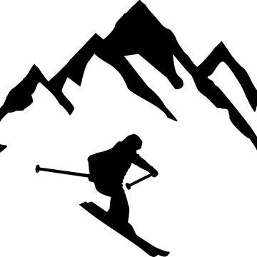 Ski, Skier & Mountain by claudiasartwork
