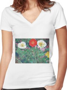 Red and White Poppies in Garden Women's Fitted V-Neck T-Shirt