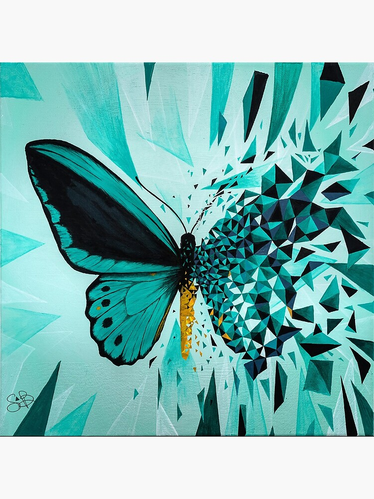Explosión geométrica mariposa verde de artetbe