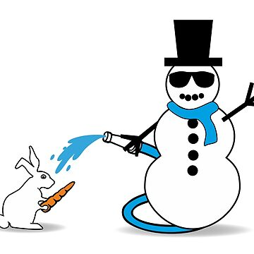 Snowman and Bunny  by claudiasartwork