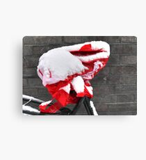 Saddle cover in the snow Canvas Print