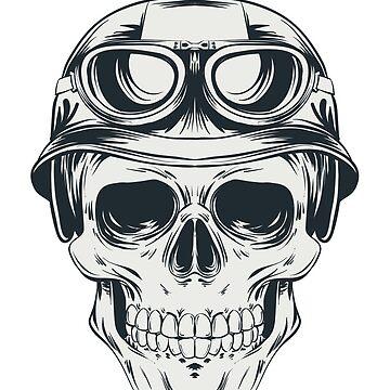 Skull clothing - Mens skull t-shirts - Motorcyclist by AleksanderLamek