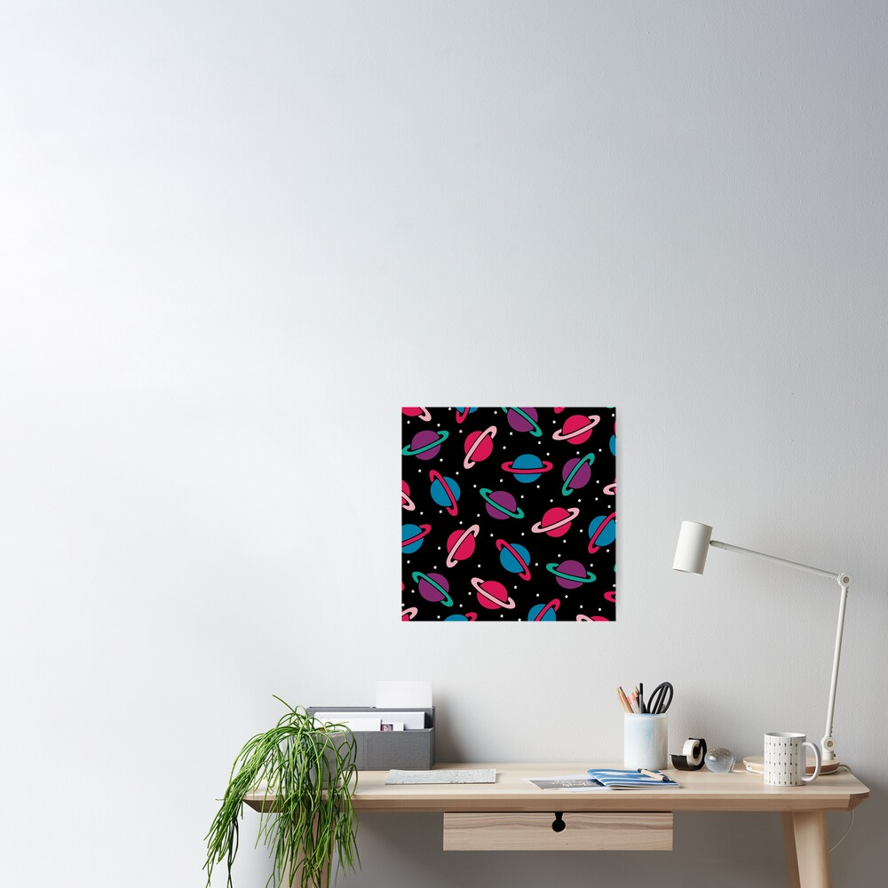 Neon Space Planets Pattern Poster