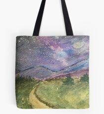Starry Road Ursprüngliche Aquarellmalerei Tote Bag