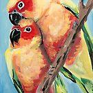 Peach Faced Lovebirds by Julie Ann Accornero
