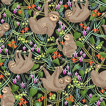 Sloths and Orchids in a Blooming Jungle by vinpauld