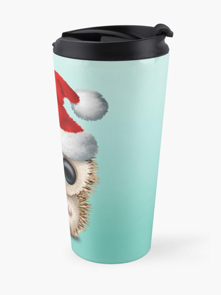 Alternate view of Christmas Hedgehog Wearing a Santa Hat Travel Mug