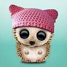 Cute Baby Hedgehog Wearing Pussy Hat by jeff bartels