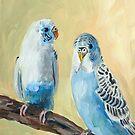 Blue Parakeets by Julie Ann Accornero