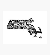 Hipster Massachusetts State Zentangle Photographic Print