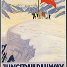 Vintage Train Jungfrau Railway Switzerland Europe Travel Advertisement Art Posters by jnniepce