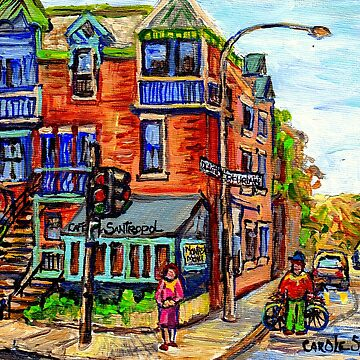 MONTREAL STREET SCENES PAINTING CORNER CAFE RUE DULUTH AT ST URBAIN QUEBEC NEIGHBORHOOD ART  by CaroleSpandau